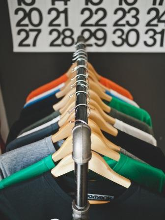 clean your closet and shirts on rack